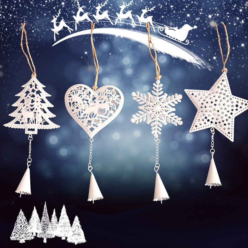 Christmas Tree Bell Pendant Ornaments For Party Holiday Xmas Supplies Snowflake Star Heart Shape Christmas Tree Hanging Natal