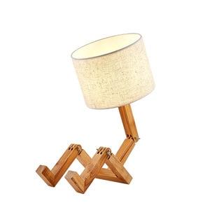 European Fashion Bedroom Study Bedroom Bedside Linen Lamp Shade Table Lamp New Wood Robot Shape Folding Table Lamp Creative