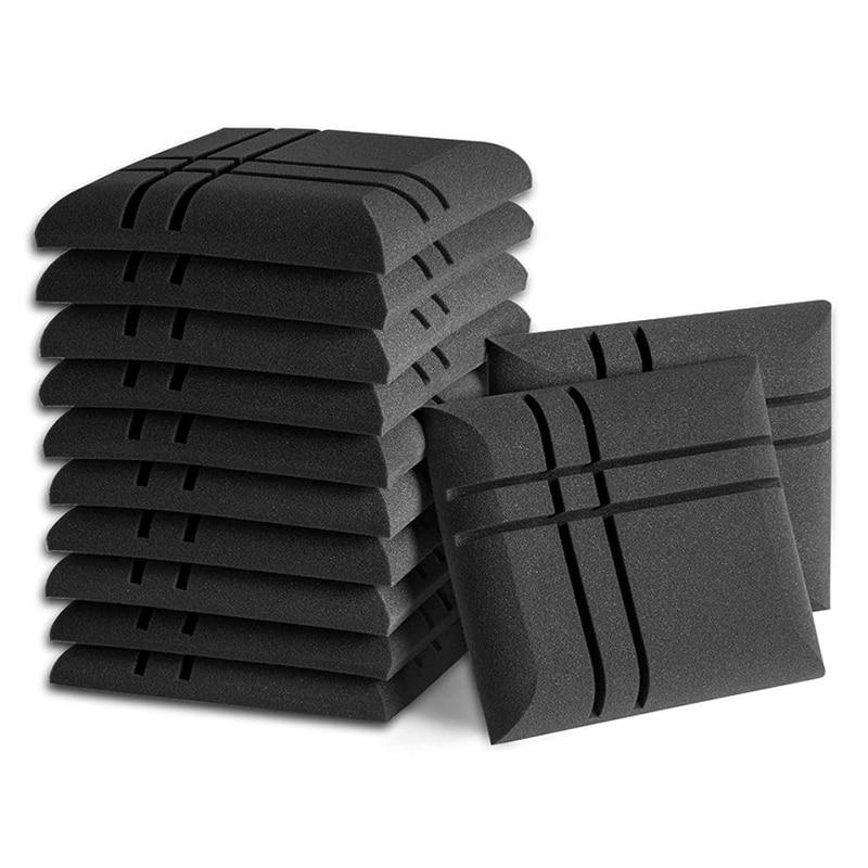 12 قطعة ألواح فوم صوتية سوداء ، استوديو إسفين البلاط ، لوحات الصوت أسافين عازلة للصوت امتصاص الصوت ، 30X30X5cm