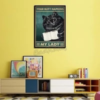 canvas painting black cat animals poster frameless painting modern home living room decoration waterproof ink painting