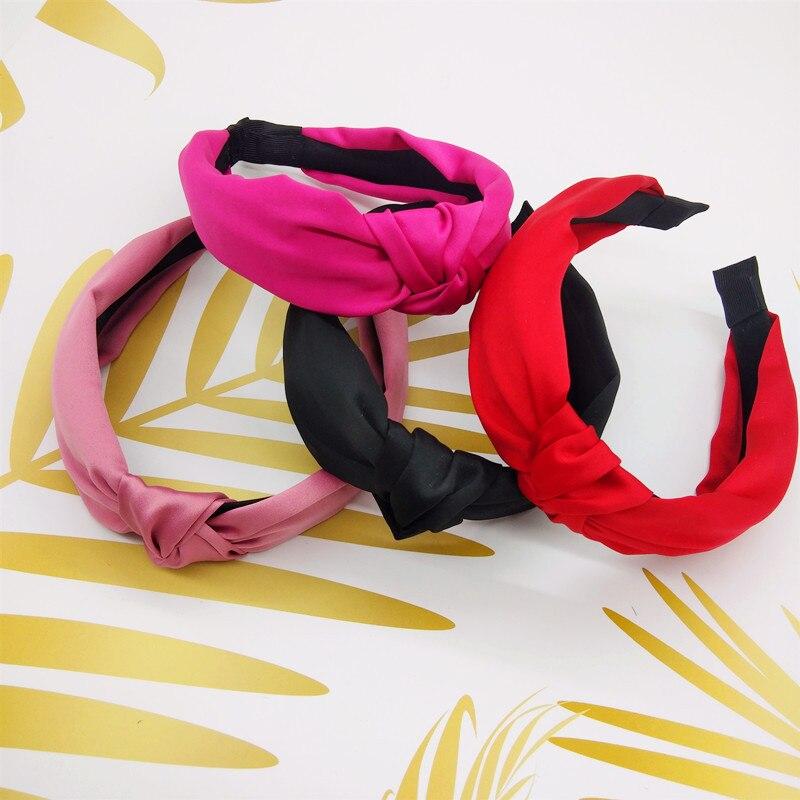 Элегантные одноцветные обручи для волос с узелком, широкие женские обручи для волос, аксессуары для волос