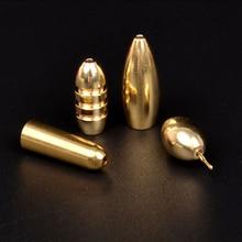 5 pièces pêche en eau salée balle forme cuivre poids tête de gabarit en métal