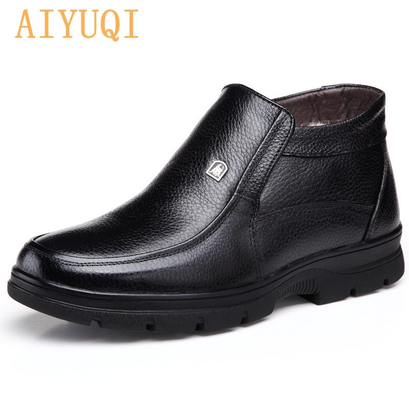 AIYUQI Men Winter Shoes Boots Genuine Leather Men's Snow Boots Large Size 38-46 Dad Warm wool Ankle