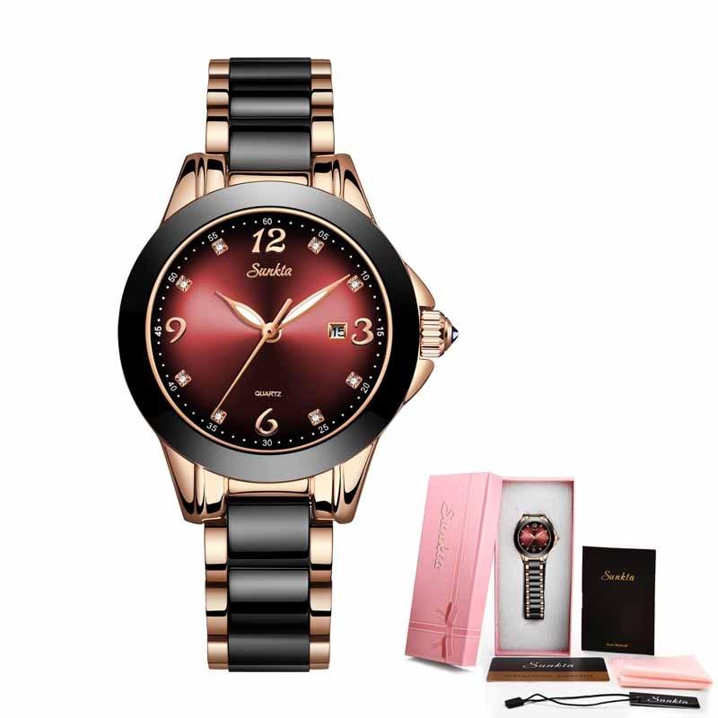 2021 Hot SUNKTA Brand Fashion Watch Women Luxury Ceramic And Alloy Bracelet Analog Wristwatch Relogio Feminino Montre Relogio enlarge