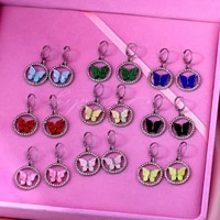 new korean cute butterfly drop earring for women gold silver color crystal circle geometric hoop earrings statement jewelry gift