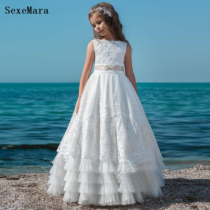 Customized White Flower Girl Dresses With Pearls Lace First Communion Dresses For Girls Pageant Party Gowns gold lace applique first communion dresses short sleeves top lace flower girl dress lace applique skirt girl pageant dresses