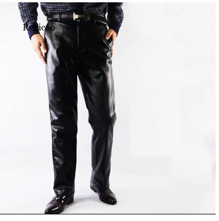 Pantalones de piel de imitación a la moda informales de talla grande 29-42 para hombre, pantalones de piel sintética negros rectos de alta calidad