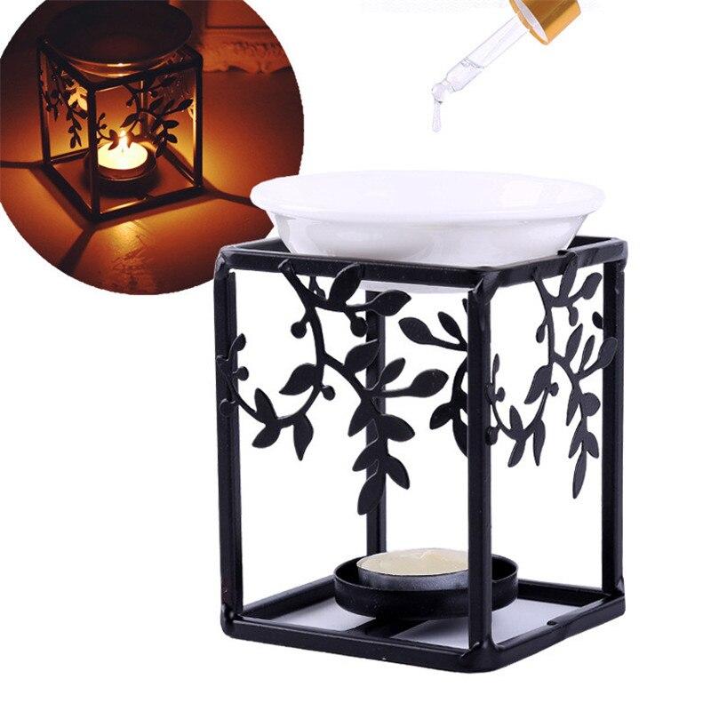 Lámpara de aceite esencial de acero inoxidable soporte de vela aromaterapia Censer decoración de la sala de estar del hogar quemador de incienso quemador de Aroma