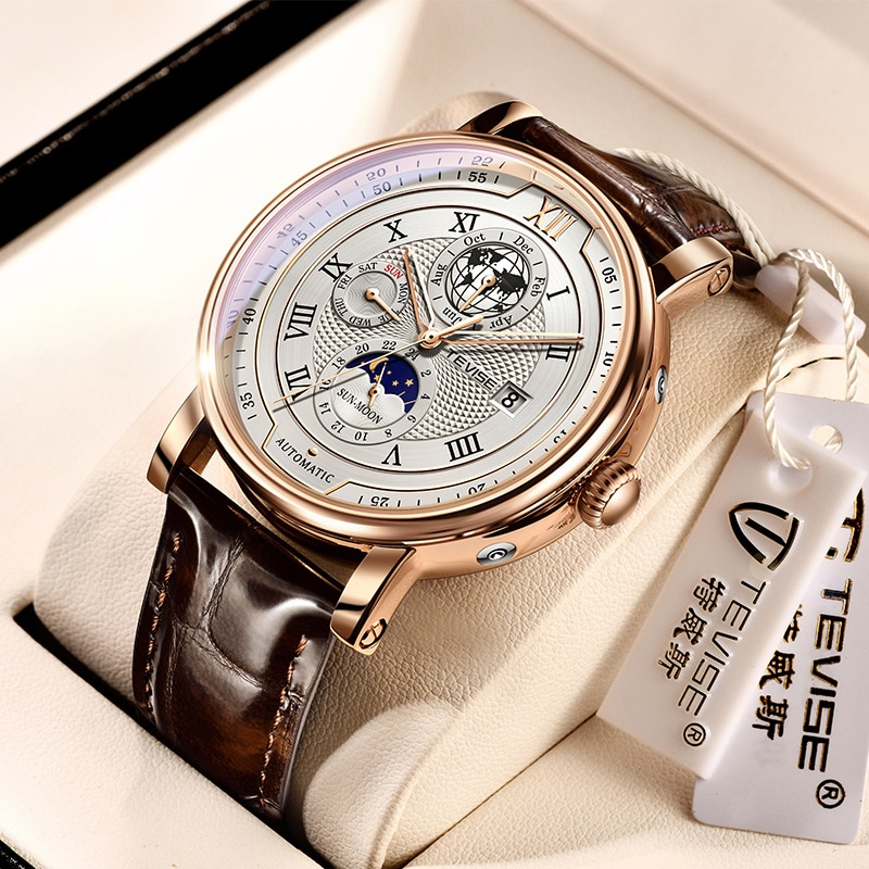 TEVISE Men Watches Automatic Mechanical Watch Leather Tourbillon Sport Clock Casual Business Relojes
