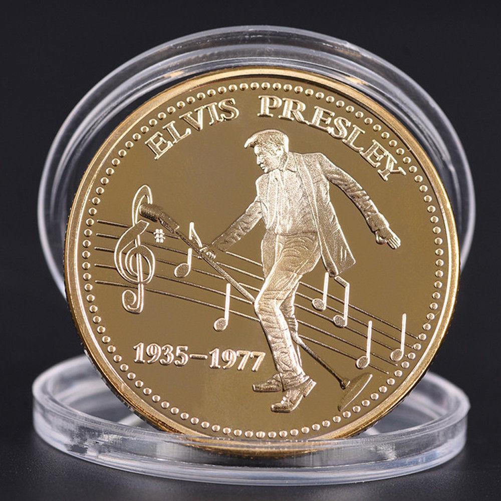 Элвис Пресли Серебро Золото памятная монета Ограниченная серия 1935-1977 Король рок поп Популярный американский стильные монеты подарок