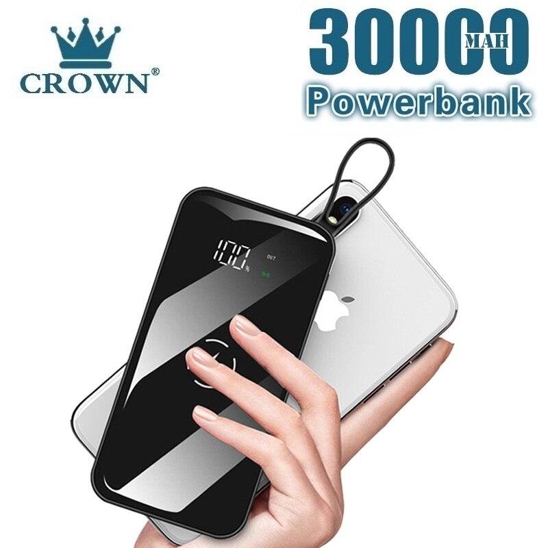 QI Wireless Power Bank 30000 MAh Large Capacity External Battery Portable Mobile Phone USB Powerbank