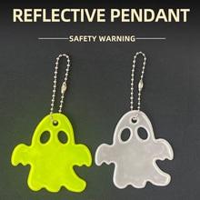 Halloween Ghost Reflective Pendant Charm Bag Accessories Hanger Keychain High Visibility Keyrings Gift ORAFOL 600 Light