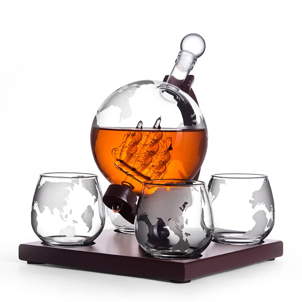Whiskey Decanter Set Vodka Globe Decanter with 4 Glasses Liquor Dispenser with Wood Stand Wine Bureau