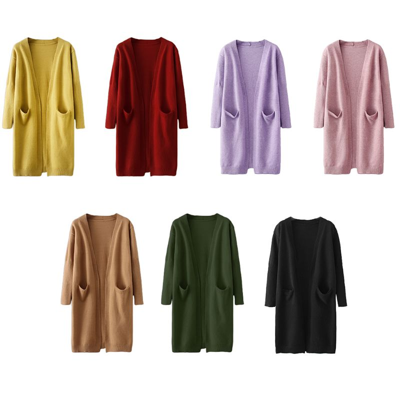 Women Long Sleeve Open Front Cardigan Solid Color Knitted Midi Sweater Outwear enlarge