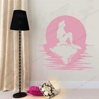 princess mermaid sunset ocean wall decal door window vinyl stickers kids girls bedroom bathroom home decor art cx579