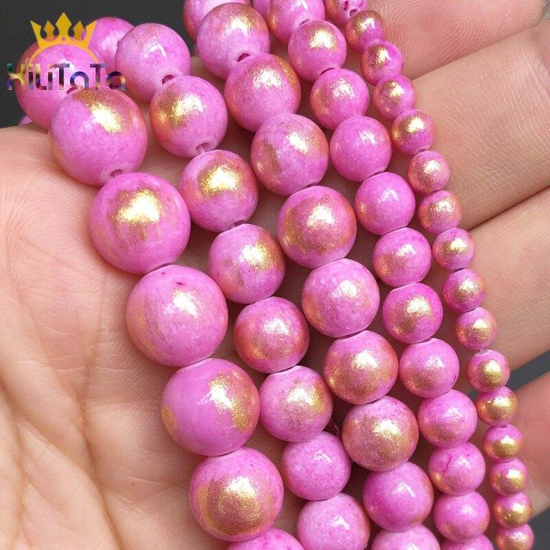 Pedra natural fuschia lapis lazuli jades redondo espaçador contas para diy jóias fazendo pulseira acessórios 15inches inches polegadas 4 6 8 10mm