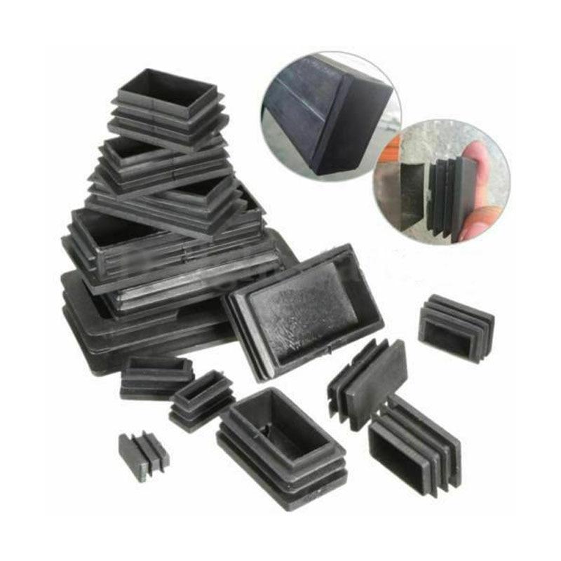40pcs negro de plástico tapas Tubo Rectangular tapa del tubo insertar tapones tapón para muebles mesas sillas Protector