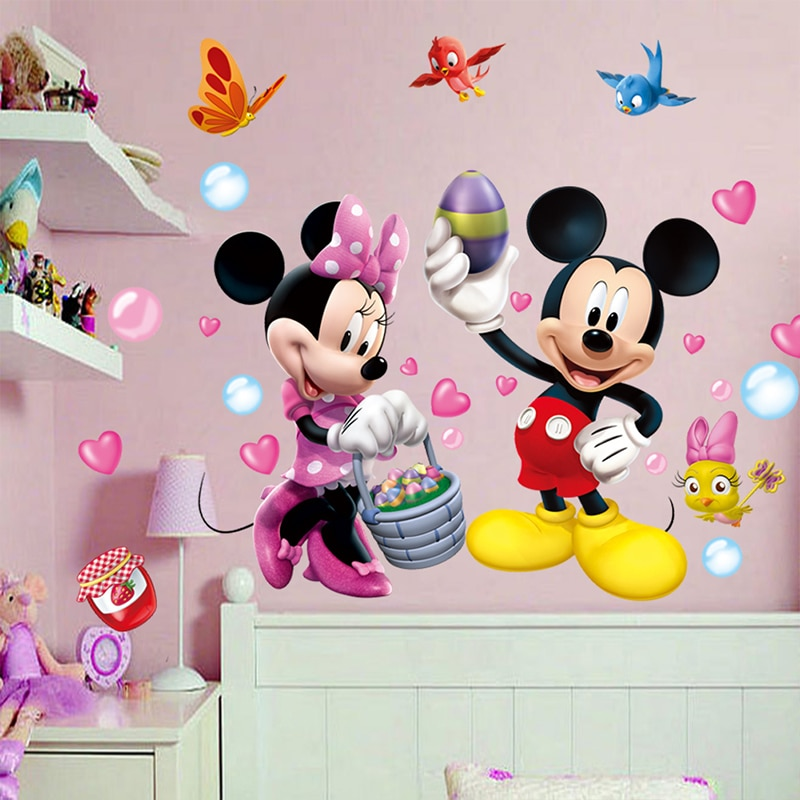 AliExpress - cartoon mickey minnie mouse birds wall stickers bedroom kids rooms home decorations disney wall decals pvc mural art diy posters