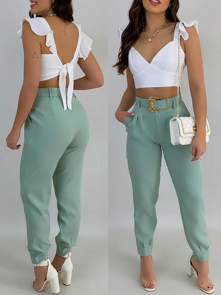 blue backless design v neck sleeveless crop top 2021 Autum Bandage Ruffle Sleeve Crop Top & Pocket Design Long Pants Set Women Casual Suit  V Neck Sleeveless Backless Sets