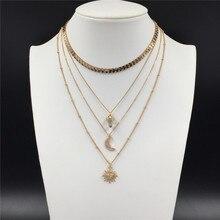 Gilry or couleur placage étoile lune Aerolite forme pendentif en couches collier pour les femmes élégant magnifique belle romantique bijoux