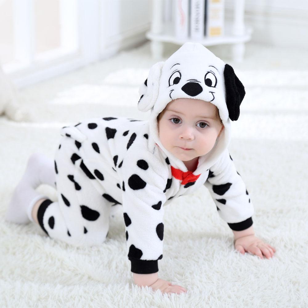 Baby Dalmatians Spotty Dog Cosplay Costume Kigurumi Cartoon Animal Rompers Infant Toddler Jumpsuit F