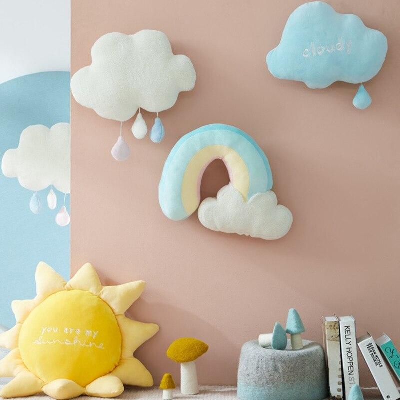 Criativo bonito rainbow sun nuvem tempo nublado natural macia boneca de brinquedo de pelúcia recheado de sol decoração de casa travesseiro crianças brinquedos