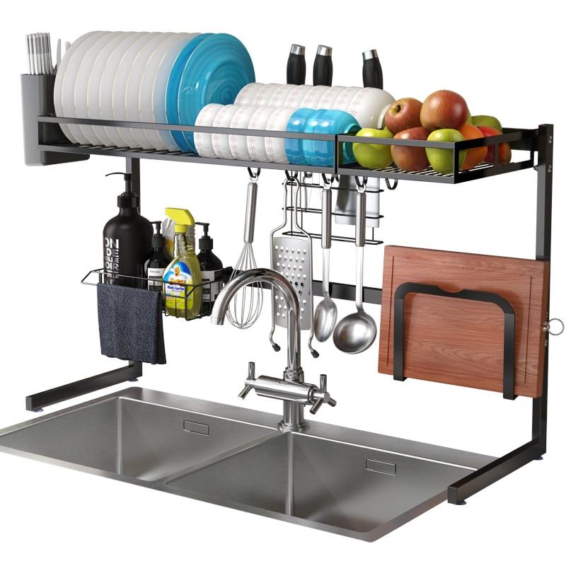 2 طبقة متعددة الوظائف الفولاذ المقاوم للصدأ المزدوج بالوعة طبق رف المطبخ المنظم التخزين تجفيف تجفيف لوحة الرف بالوعة تجفيف رف