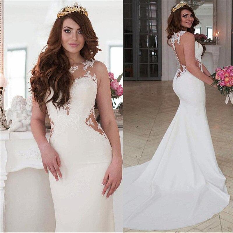 فستان زفاف حورية البحر من الدانتيل ، رقبة مستديرة ، نحيف ، طبيعي ، مخصص ، بلا أكمام ، شفاف في الخلف