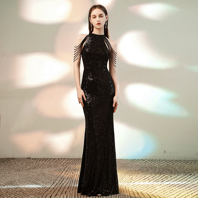 YIDINGZS 8 ألوان الترتر فستان قبالة الكتف الديكور مساء فستان أنيق المرأة فستان الحفلات ملابس زفاف