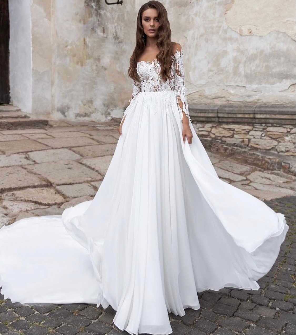 Get Wedding Dress A-Line Full Sleeve Sheer Neck Lace Appliques Sequined Tassel Backless Button Floor Length Sweep Train Bride Gown