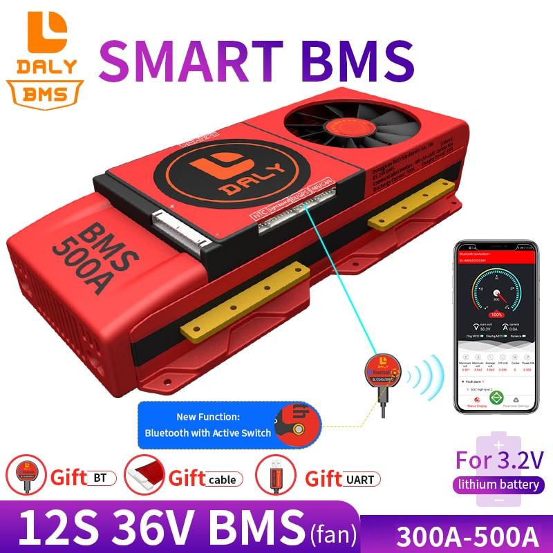 سمارت BMS 12S 36 فولت 300A 400A 500A بلوتوث 485 إلى USB جهاز يمكن NTC UART البرمجيات لي على لوح حماية البطارية BMS مع مروحة