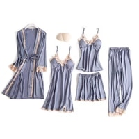 5 pieces pajamas set sexy lace satin faux silk sleepwear women summer spring pajamas for women robe sleep lounge with chest pads