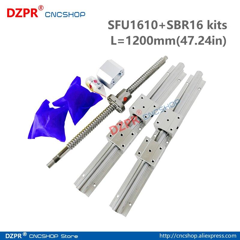 CNC Parts Set SFU1610 1200mm 47.24in + SBR16 1200mm Rail SBR16UU block BK12/BF12 End Support+RM1610 Nut bracket 8mm*10mm coupler