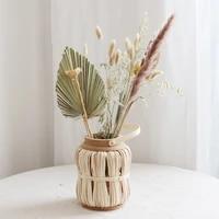 eucalyptus dried flower large bouquet bamboo woven lantern vase set living room window decoration homestay coffee shop display