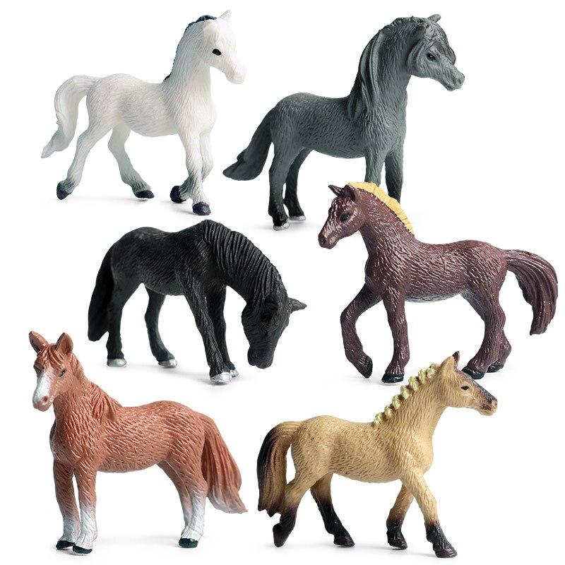 Figuras de ação colecionáveis 6 pçs/set, brinquedos pequenos de animais do cavalo, modelo de plástico para crianças