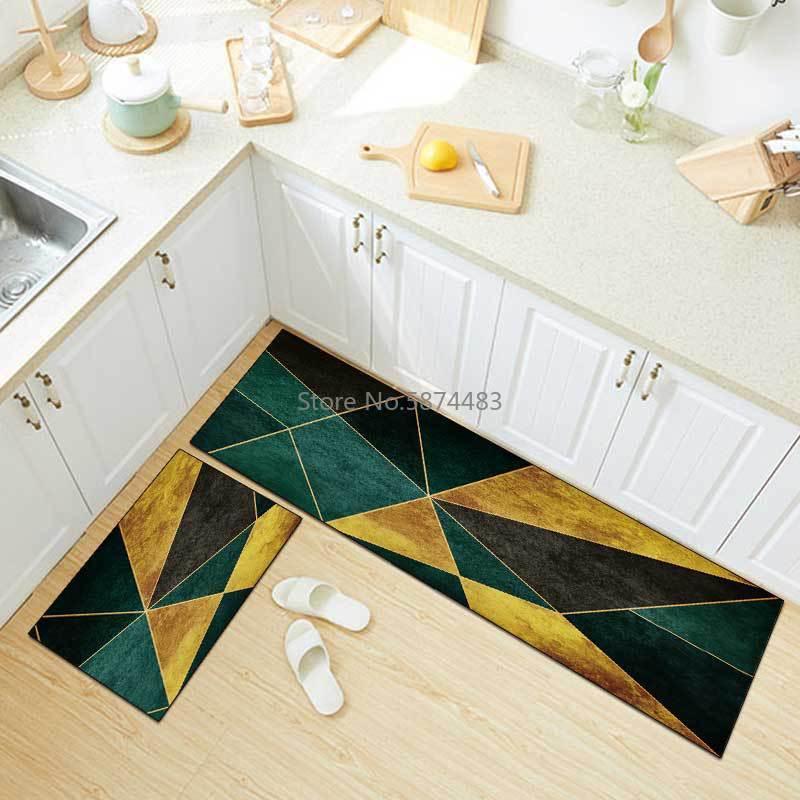 سجادة مطبخ فاخرة ، حديثة وخفيفة ، ذهبية وخضراء ، هندسية ، مزيج ، دخول لغرفة النوم ، غطاء سرير غير قابل للانزلاق