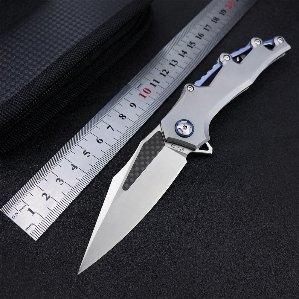 M390 الصلب سكينة للاستعمال الخارجي شفرة مثبتة سكين TC4 سبائك التيتانيوم مقبض الحقل مستقيم سكين الدفاع عن النفس المنزلية سكينة فاكهة