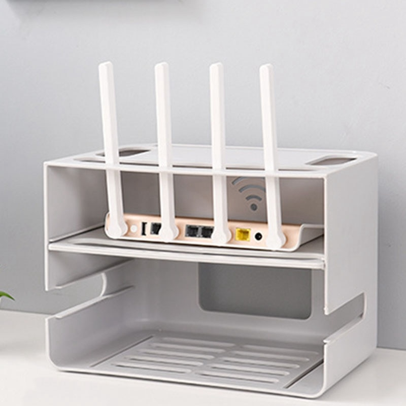 ELEG-doble cajón de capas tipo inalámbrico WIFI Router caja de almacenamiento enchufe tablero soporte Cable organizador de almacenamiento