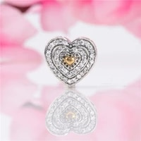 lorena authentic s925 silver new luxury fashion heart shaped beads fit original charms bracelet necklace diy jewelry making
