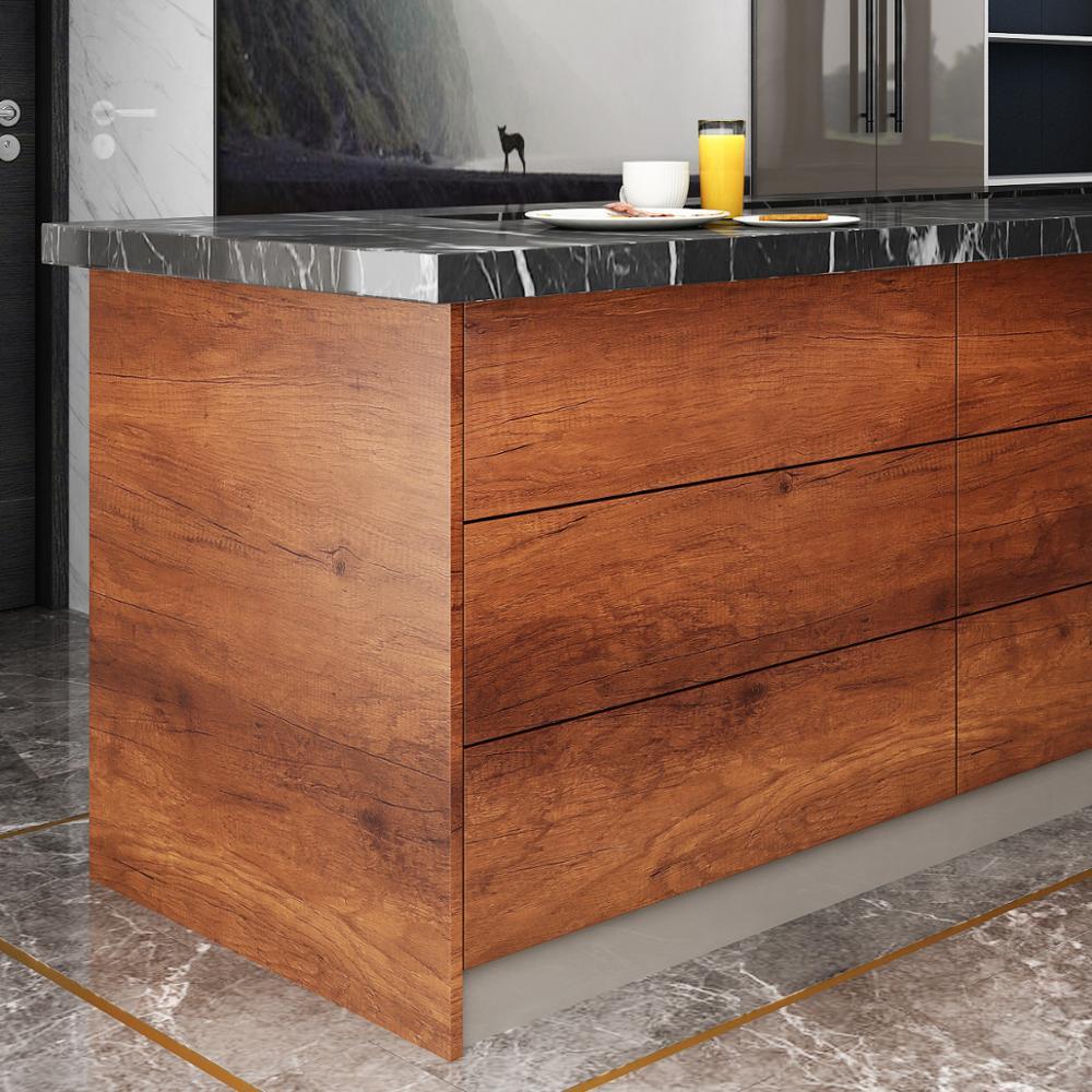 Papel pintado de grano de madera de moda autoadhesivo pegatinas de pared impermeable puerta para dormitorio de PVC armario muebles decoración de renovación