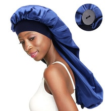 New Elastic Wide Band Satin Bonnet With Adjustable Button For Long Hair Hat Breathable Night Sleep C