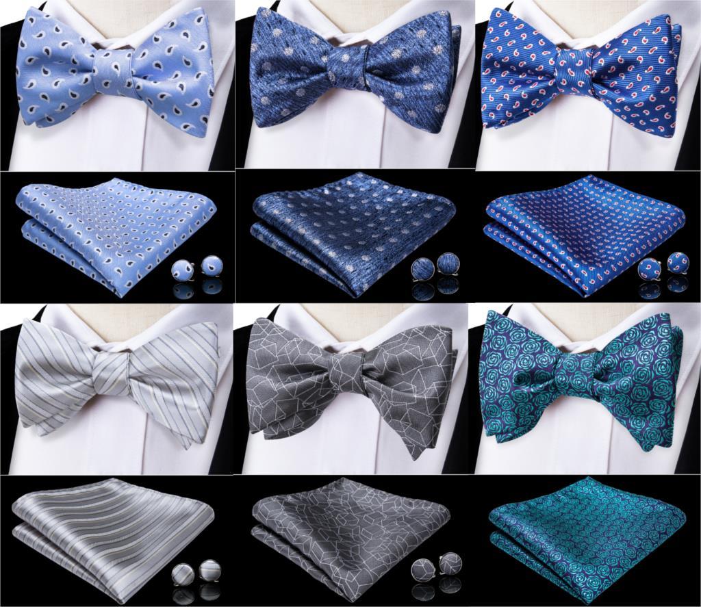 Formal Dress Bow Tie Self Tie Bowtie Men Blue Paisley Wedding Bow Tie Set Handkerchief Cufflinks Tuxedo Butterfly Tie DiBanGu plus butterfly sleeve self tie shirt dress