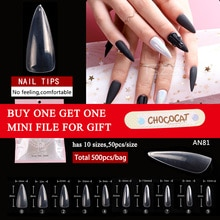 1 sac/lot 500 pièces longue amande clair ABS ongles couverture complète Stiletto pointu faux conseils acrylique artificiel ongles conseils pour Salon de manucure