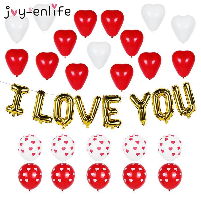 Casamento de aniversário romântico eu te amo balões conjunto coração folha de hélio balão dia dos namorados festa de casamento decoração suprimentos