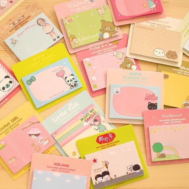 1pcs/lot kawaii Cartoon 9 Series Message Notepad Cheap Planner Sticky Note pads Memo Writing Scratch Office School Supplies