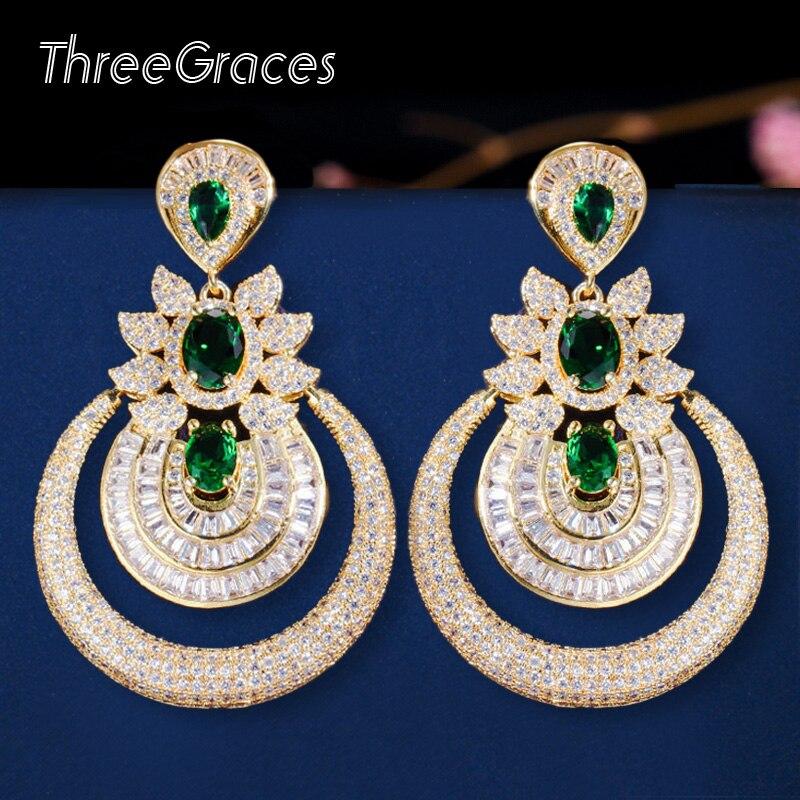 ThreeGraces, pendiente de gota grande redondo de Color dorado amarillo de lujo nigeriano africano, boda, baile de graduación, bisutería para mujer ER315