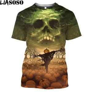 Horror Pumpkin Lanterns Witch T Shirt Castle Ghost Fashion Men T Shirt Halloweentown Dark Gothic Harajuku Shirt Tops