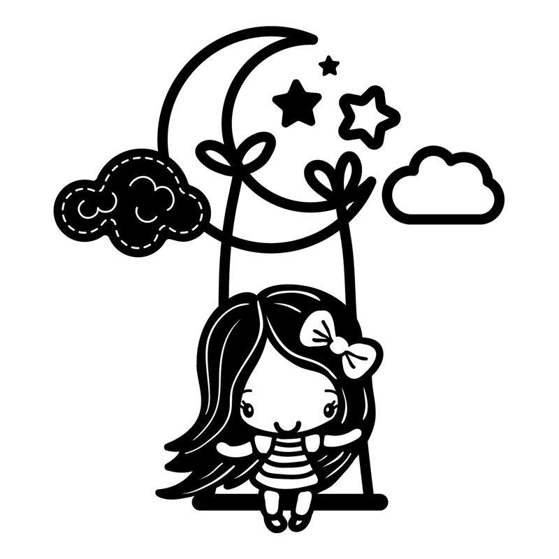 Troqueles de corte de Metal DiyArts Girl on Moon, con estampado de estrellas en la nube cosida, plantilla para álbum de recortes, plantilla para perforar papel, artesanías