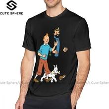 Tintin T-Shirt Tintin et capitaine Haddock T-Shirt mignon surdimensionné T-Shirt à manches courtes hommes coton été imprimé T-Shirt