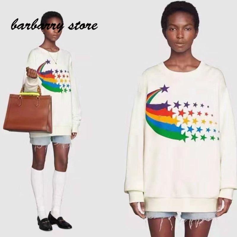 2021 luxury design pentagonal Star printing fashion women's round neck long sleeve Pullover temperament versatile casual sweater